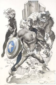 Captain America, Black Widow, and Beast by Simone Bianchi *