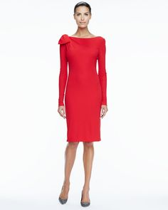 Badgley Mischka Collection Red Longsleeve Bowdetail Cocktail Dress