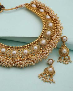 Necklace Set With Bunch Of Pearls