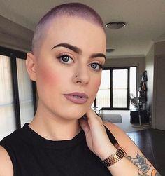 WEBSTA @ buzzcutfeed - Pretty Purple Buzz CutThanks @sophaaaaa #hairdare #beauty #shorthair #feminine