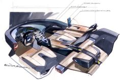 Saab Aero X concept car , Geneva 2006 interior key sketch by Erik Rokke.