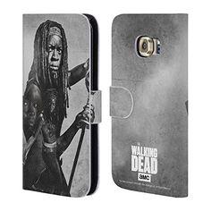 Offizielle AMC The Walking Dead Michonne Doppelte Aussetzung Brieftasche Handyhülle aus Leder für Samsung Galaxy S6 edge