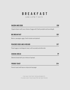 minimalist menu - Google Search