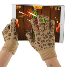 [$2.20] Woven Leopard Decorative Pattern Five Fingers Touch Screen Gloves for iPhone 6 & 6s / iPhone 5 & 5S & 5C, iPhone 4 & 4S / iPad / iPod touch, BlackBerry, HTC and Other Touch Screen Device(Brown)