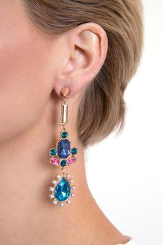BAROQUE DROP EARRING R 195.00 - Drop design - Faceted jewel embellishment - Gold tone finish - Spike stud detail - Butterfly back casting