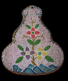 Beaded Leather Wedding Nonya Coin Purse. Peranakan or Straits Chinese/Indonesia. c. 1920
