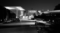 Art Institute Modern Wing At Night, From Millennium Park, Chicago - Black and White