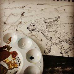 Bacic #watercolor #color #pallette was used for my #ink sketch.  #inktober #sketch #sketchbook #illustration #illustrationartists #inkdrawing