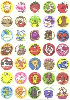 Retro stickers from the ole sticker book! Weren't these scratch & sniff too?