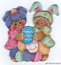 HP GINGERBREAD Girls with Easter Eggs FRIDGE MAGNET #Handpainted