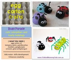[DIY Kids Craft] Thinking about crafts for the holiday? What about transforming some egg cartons into some bugs for kids to play?