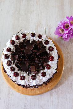 Eggless Black Forest Cake   DivineTaste Kiwi Cake, Mango Cake, Chocolate Shavings, Chocolate Cake, Icing Nozzles, Cherry Syrup, Black Forest Cake, Stone Fruit, Almond Cakes