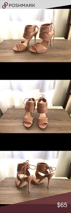 """*Jessica Simpson* Perforated Heels *Brand new/never been worn* Jessica Simpson brand, perforated, blush/pink color. Cute shoelace tie details at the heels. Approx. heel length is 4.5"""" Jessica Simpson Shoes Heels"""