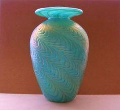 BREATHTAKING Gorgeous ART Glass VASE Deeply TEXTURAL Designs SUBTLE Iridescence