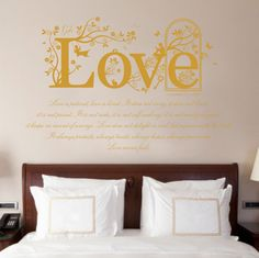 1 Corinthians 13 v 4-8 Christian Bible Quote, Vinyl Wall Art Sticker Decal Mural, 120cm wide, Bedroom, Lounge