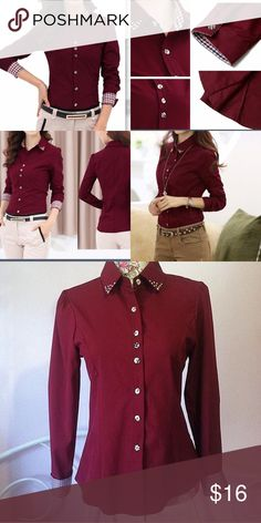 Yes style Maroon Button Down Yesstyle blouse size large but runs more like small/medium! Plaid cuffs, studded collar, and buttons that are tan and some have some plaid designs! Just cute! 24.5 inch in length, 17 inch pit to pit, 22 inch sleeve. No stretch. Yes Style Tops Button Down Shirts
