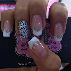 French Manicure Nails, French Nails, Manicure And Pedicure, Colorful Nail Designs, Nail Art Designs, Fingernail Polish Designs, Long Acrylic Nails, Nail Decorations, Bling Nails
