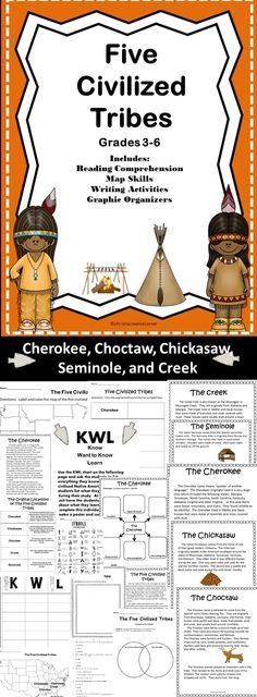 Five Civilized Tribe is a brief history of the Cherokee, Choctaw, Chickasaw, Seminole and the Creek tribes. This product includes reading comprehension, map skills, writing activities, and graphic organizers, and MORE!  #nativeamerican