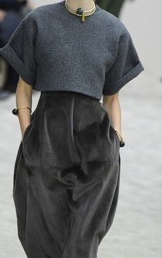 Dark grey dress + cropped top; chic fashion details // Celine Fall 2013