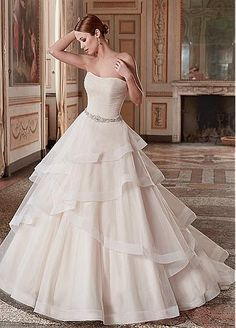 Marvelous Organza & Satin Strapless Neckline A-Line Wedding Dresses With Beadings & Rhinestones