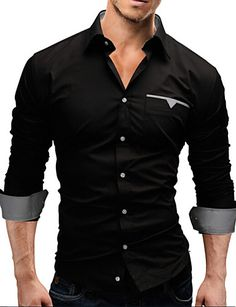 Men's Plus Size White/Black/Red Long Sleeve Shirt, Cotton Blend Casual/Work/Formal Pure 3127189 2017 – $8.99