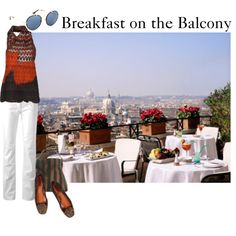 """Breakfast on the Balcony"" by maggie-johnston on Polyvore"