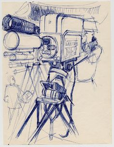 TV Camera and Cameraman (ball point pen on paper) 1963 by Paul Calle by peacay, via Flickr