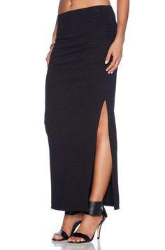 NWT Standard James Perse Black Knit #Ruched #Long Maxi Side Slit #Skirt 4 L XL $175 #JamesPerse #Maxi