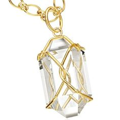 """Verdura """"Herkimer"""" Pendant Necklace. Today they have been re-interpreted in rock crystal, with diamond accents and 18k yellow gold, with a  17.5"""" gold chain."""