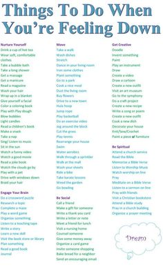 Things To Do When You're Feeling Down Pictures, Photos, and Images for Facebook, Tumblr, Pinterest, and Twitter