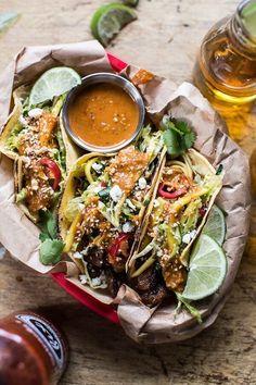 "yumi-food: ""Bulgogi BBQ Pork Tacos with Charred Tomatillo Sesame Sauce & Spring Onion Slaw "" Pork Recipes, Asian Recipes, Mexican Food Recipes, Dinner Recipes, Cooking Recipes, Healthy Recipes, Healthy Tacos, Easy Recipes, Healthy Food"