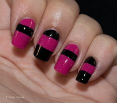 Lacky Corner: Pink & Black stripes! Made by @opinagellack Girls Love Ponies and Rainbow Honey Nyx