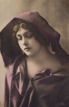 Gabrielle Robinne, French Actress, in Hooded Cloak. Hand-Tinted, circa 1905