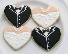 Wedding Cookies | Bride and Groom Cookies | Tuxedo and Gown Cookies | Wedding Favors | Bridal Shower Cookies | One Dozen