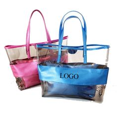 Visible Clear PVC Tote bag Two In One Beach Bags cosmetic ba