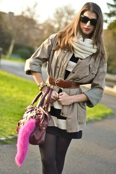 could do this with grey dress, oversized button up, scarf and belt :)