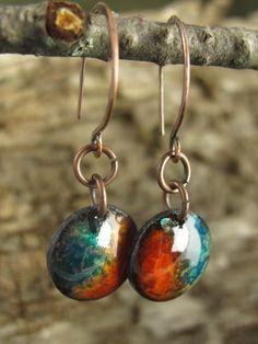 Copper Enamel Little Dome Earrings in Rustic Orange by coppersoul