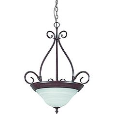 @Overstock - Update your decor with this rubbed bronze three-light fixture. The pendant fixture features a faux alabaster glass bowl shade.http://www.overstock.com/Home-Garden/Rubbed-Bronze-3-Light-Bowl-Pendant-Light-Fixture/6589274/product.html?CID=214117 $65.99