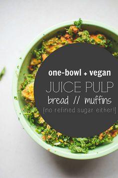 Juice pulp bread. Don't throw that good fruit/veggie pulp away after juicing!