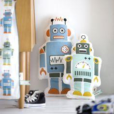 Mr Small & Mr Large #Robot Pillows by #FermLiving - #kidsroom #designforkids