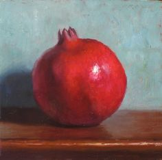 "images of pomegranate painting | Pomegranate"" Oil on 6x6 gessobord"