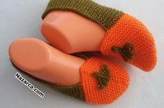 YEŞİL PÜSKÜLLÜ TURUNCU EL ÖRGÜ PATİK | Nazarca.com Knit Vest Pattern, Drops Design, Baby Shoes, Slippers, Orange, Knitting, Crafts, Women, Slipper