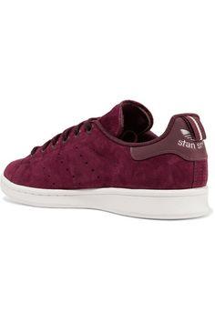 best cheap be780 47db8 adidas Originals - Stan Smith leather-trimmed suede sneakers.  UrbanoTenisCuero Y EncajeAdidas OriginalesBorgoñaDe Encaje