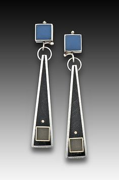 Square Top Triangle Earring by Eileen Sutton: Silver and Resin Earrings available at www.artfulhome.com