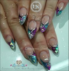 Not a big fan of pointy nails, but the color itself, wow, Fuchsia, Blue & Silver Nails..
