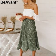 2d23acf472 US $15.58 45% OFF|BeAvant Floral print high waist long pleated skirt Women  holiday beach chiffon summer skirt Bohemian loose ladies skirts female-in  Skirts ...
