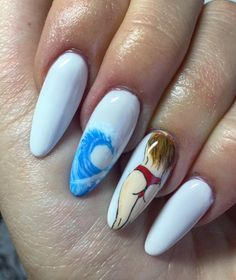 summer waves nail art