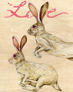 """Love Rabbits"" - Lisel Ashlock  http://www.signatureillustration.org/illustration-blog/wp-content/Lisel-Ashlock-Love-Rabbits.jpg"