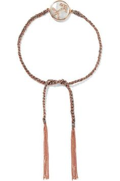 Carolina Bucci - Sagittarius Lucky Zodiac 18-karat Rose Gold, Diamond, Mother-of-pearl And Silk Bracelet - one size