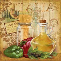 Italian Kitchen II Collections Art Poster Print by Conrad Knutsen, Decoupage Vintage, Decoupage Paper, Vintage Diy, Vintage Labels, Vintage Cards, Vintage Images, Etiquette Vintage, Image Deco, Kitchen Art